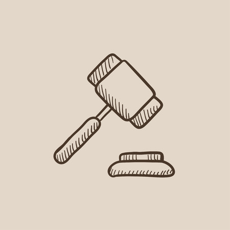 auction gavel: Auction gavel sketch icon for web, mobile and infographics. Hand drawn vector isolated icon. Illustration