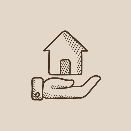 belay: House insurance sketch icon for web, mobile and infographics. Hand drawn vector isolated icon. Illustration