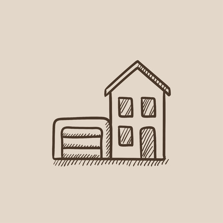 domestic garage: House with garage sketch icon for web, mobile and infographics. Hand drawn vector isolated icon.