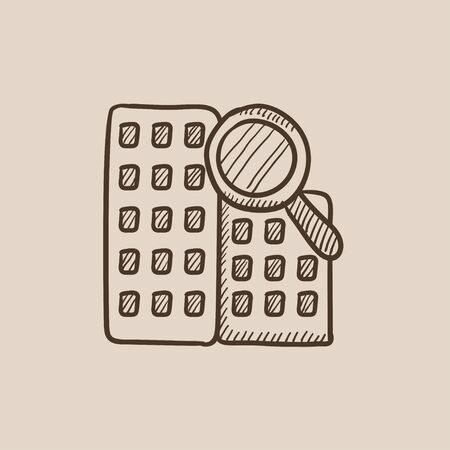 condominium: Condominium and magnifying glass sketch icon for web, mobile and infographics. Hand drawn vector isolated icon.