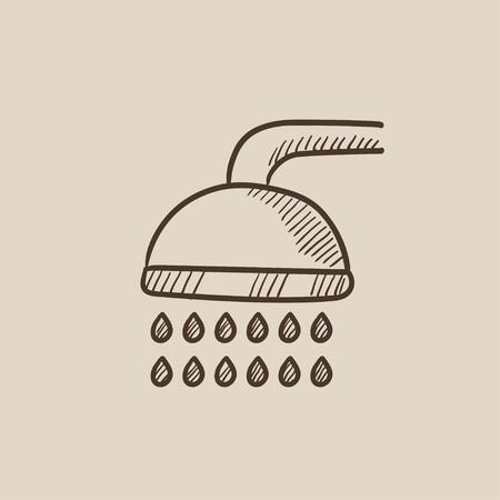 シャワーは、web、モバイルのアイコンとインフォ グラフィックをスケッチします。手には、ベクトル分離アイコンが描画されます。