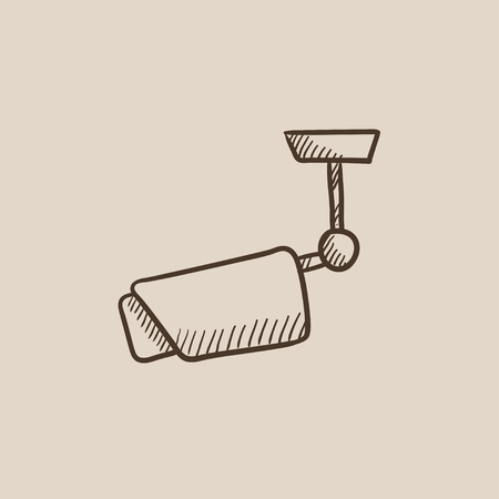 Outdoor surveillance camera sketch icon for web, mobile and infographics. Hand drawn vector isolated icon. Illustration