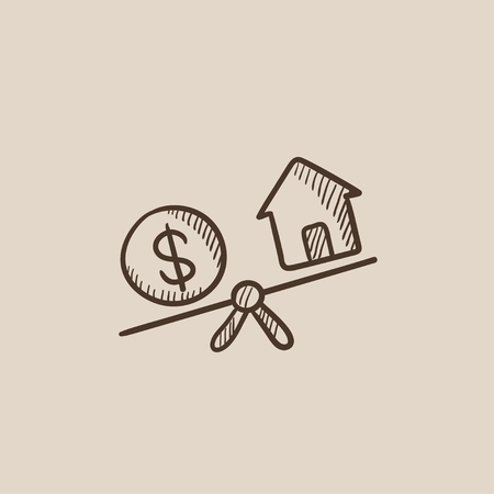 weigher: House and dollar symbol on scales sketch icon for web, mobile and infographics. Hand drawn vector isolated icon.
