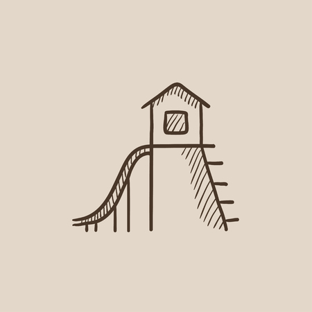 playhouse: Playhouse with slide sketch icon for web, mobile and infographics. Hand drawn vector isolated icon.