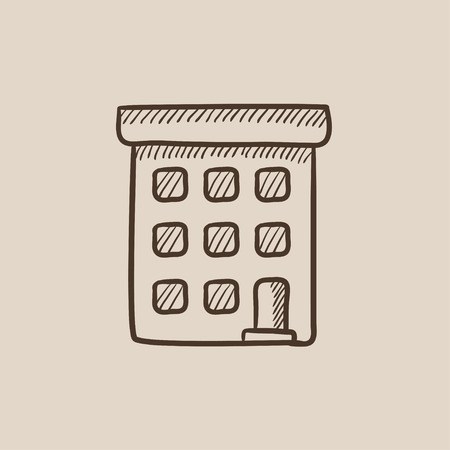 condominium: Condominium building sketch icon for web, mobile and infographics. Hand drawn vector isolated icon.