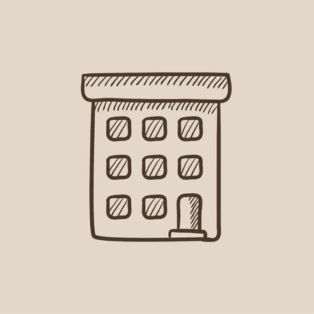 condominium: Condominium building sketch icon for web, mobile and infographics. Hand drawn vector isolated icon.