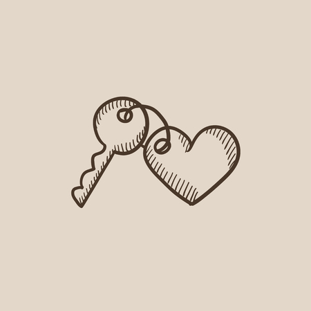 trinket: Trinket for the keys as a heart sketch icon for web, mobile and infographics. Hand drawn vector isolated icon. Illustration