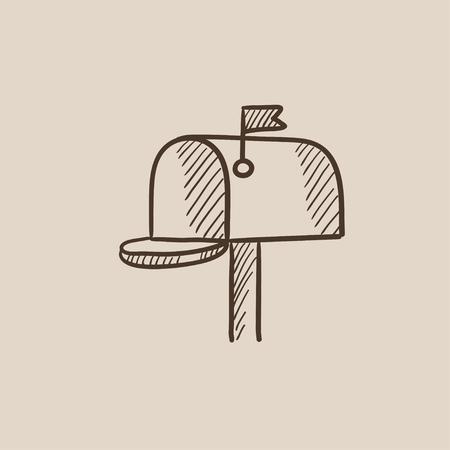 Icono de boceto de buzón para web, móvil e infografías. Dibujado a mano icono aislado del vector.