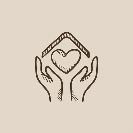 hands holding house: Hands holding house symbol with heart shape sketch icon for web, mobile and infographics. Hand drawn vector isolated icon.