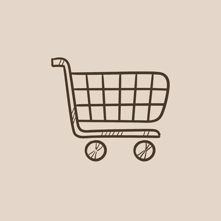 hand cart: Shopping cart sketch icon for web, mobile and infographics. Hand drawn vector isolated icon.