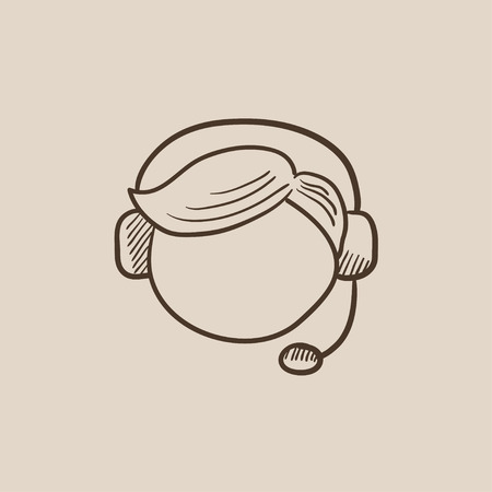 Operator of customer service sketch icon for web, mobile and infographics. Hand drawn vector isolated icon.
