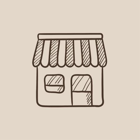 Shop Skizzensymbol für Web, Mobile und Infografiken. Hand gezeichneter Vektor lokalisierte Ikone. Standard-Bild - 54576574