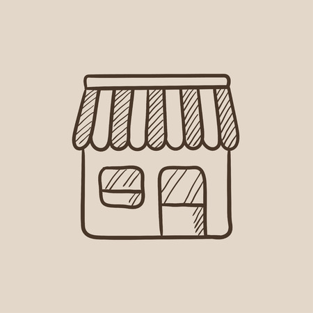 Shop sketch icon for web, mobile and infographics. Hand drawn vector isolated icon. Illustration