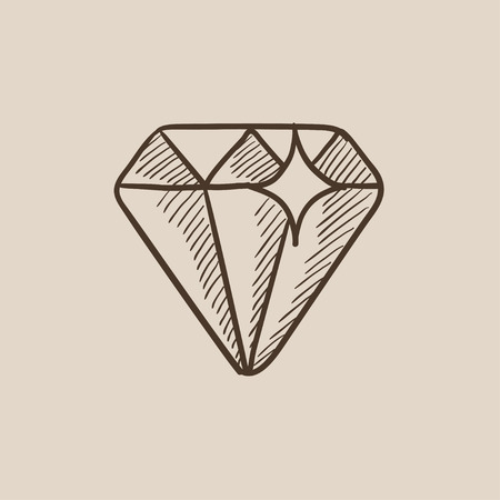 Diamond sketch icon for web, mobile and infographics. Hand drawn vector isolated icon. Ilustrace
