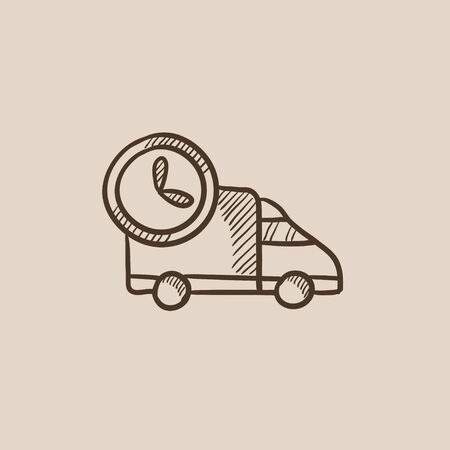 auto service: Delivery truck sketch icon for web, mobile and infographics. Hand drawn vector isolated icon.