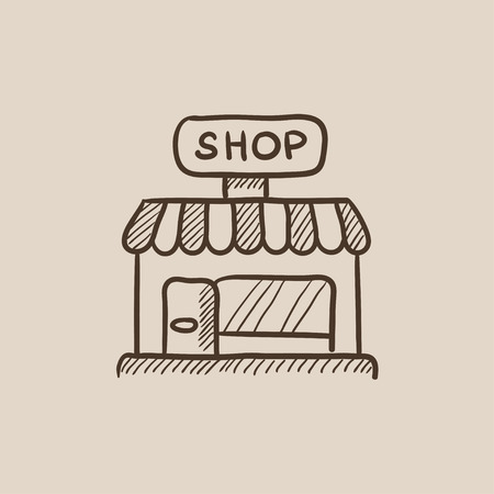 awnings windows: Shop sketch icon for web, mobile and infographics. Hand drawn vector isolated icon. Illustration