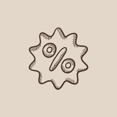 selloff: Discount tag sketch icon for web, mobile and infographics. Hand drawn vector isolated icon.