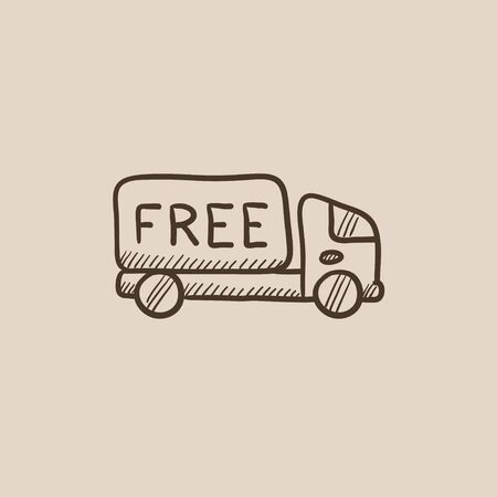 hand truck: Free delivery truck sketch icon for web, mobile and infographics. Hand drawn vector isolated icon.