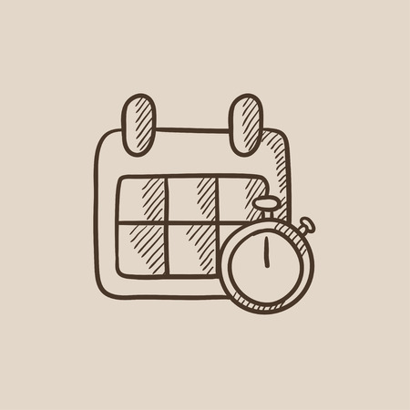 Calendar and stopwatch sketch icon for web, mobile and infographics. Hand drawn vector isolated icon.