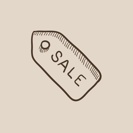 selloff: Sale tag sketch icon for web, mobile and infographics. Hand drawn vector isolated icon. Illustration
