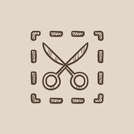 scissors icon: Scissors with dotted lines sketch icon for web, mobile and infographics. Hand drawn vector isolated icon.