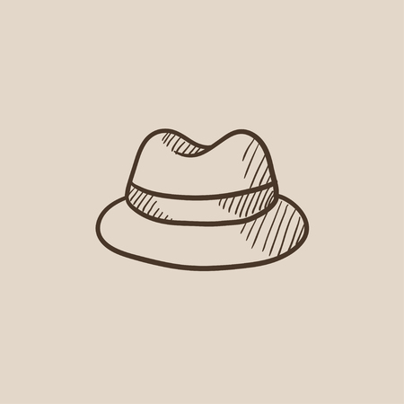 rimmed: Classic hat sketch icon for web, mobile and infographics. Hand drawn vector isolated icon.