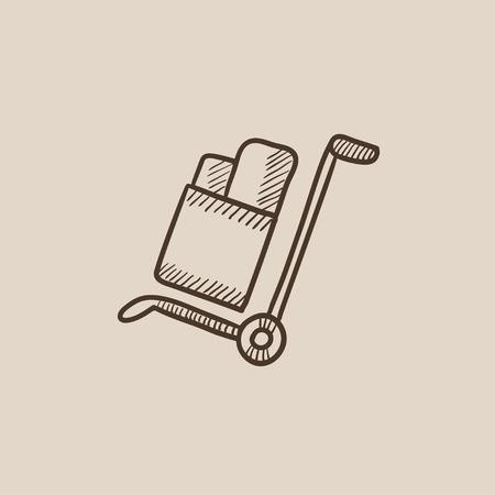 Carretilla de las compras con el icono de la manipulación cajas boceto para web, móvil y la infografía. aislado vector dibujado a mano icono. Foto de archivo - 54576381