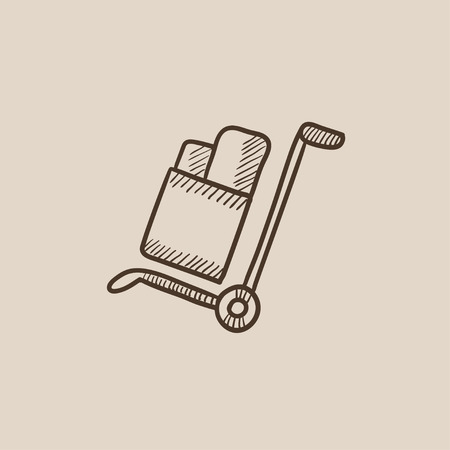 handling: Shopping handling trolley with boxes sketch icon for web, mobile and infographics. Hand drawn vector isolated icon.