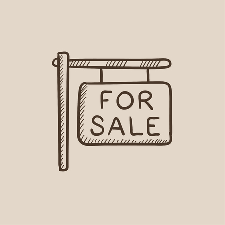 selloff: For sale signboard sketch icon for web, mobile and infographics. Hand drawn vector isolated icon. Illustration