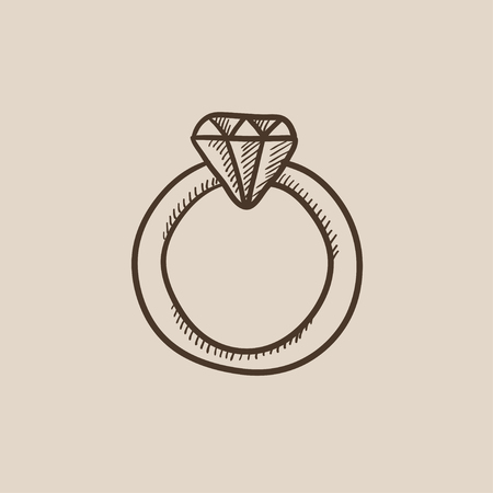 karat: Diamond ring sketch icon for web, mobile and infographics. Hand drawn vector isolated icon. Illustration