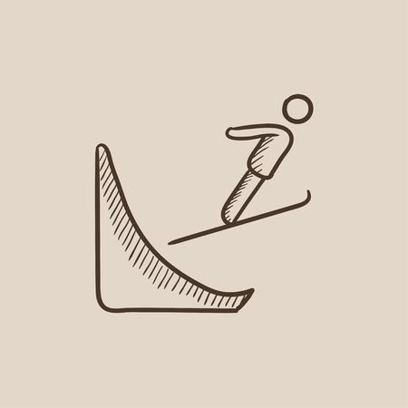 Icône de croquis de saut à ski pour web, mobile et infographie. Icône isolé de vecteur dessiné à la main. Banque d'images - 54576244