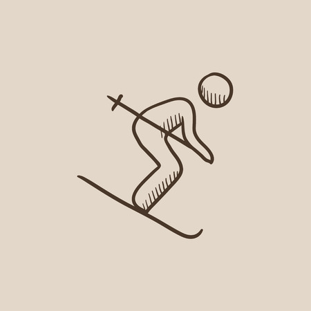 downhill skiing: Downhill skiing sketch icon for web, mobile and infographics. Hand drawn vector isolated icon.