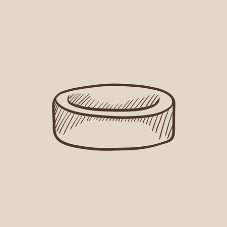 Hockey puck sketch icon for web, mobile and infographics. Hand drawn vector isolated icon. Illustration