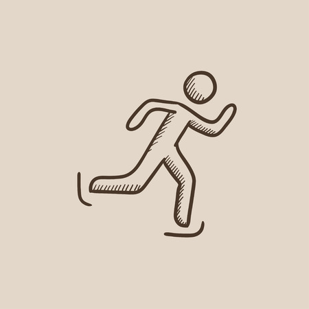 speed skating: Speed skating sketch icon for web, mobile and infographics. Hand drawn vector isolated icon. Illustration