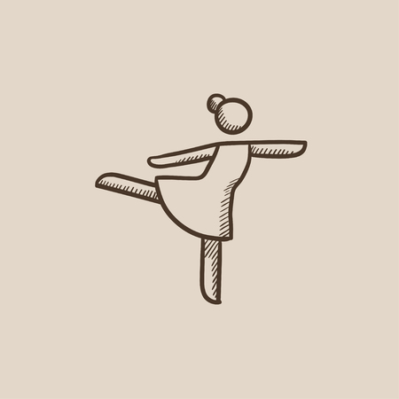 figure skater: Female figure skater sketch icon for web, mobile and infographics. Hand drawn vector isolated icon.