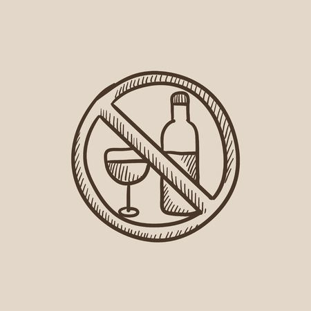 spirituous beverages: No alcohol sign sketch icon for web, mobile and infographics. Hand drawn vector isolated icon.