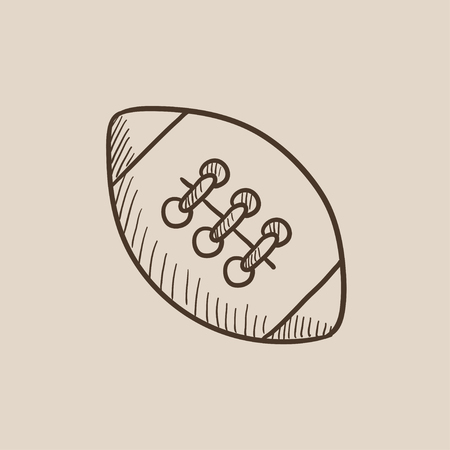 Rugby football ball sketch icon for web, mobile and infographics. Hand drawn vector isolated icon.