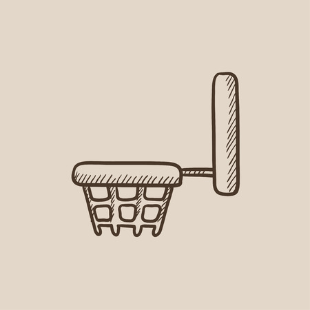 Basketball hoop sketch icon for web, mobile and infographics. Hand drawn vector isolated icon.