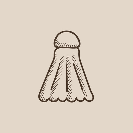 battledore: Shuttlecock sketch icon for web, mobile and infographics. Hand drawn vector isolated icon.