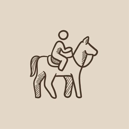 Horse riding sketch icon for web, mobile and infographics. Hand drawn vector isolated icon.
