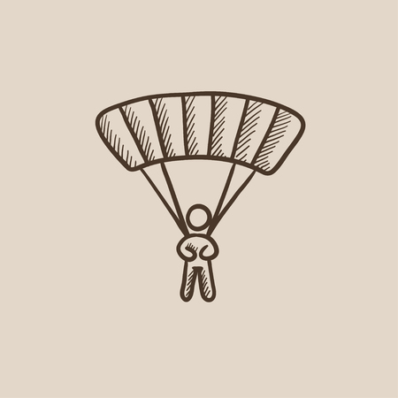 airplay: Skydiving sketch icon for web, mobile and infographics. Hand drawn vector isolated icon. Illustration