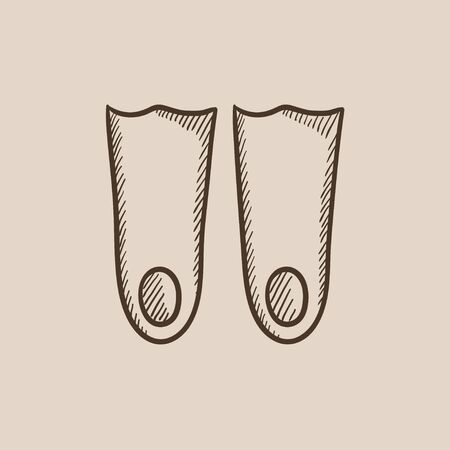 flippers: Flippers sketch icon for web, mobile and infographics. Hand drawn vector isolated icon.