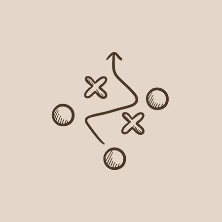 tactical: Tactical plan sketch icon for web, mobile and infographics. Hand drawn vector isolated icon.