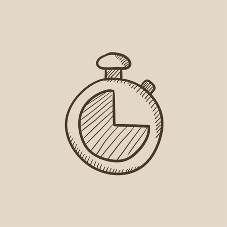 Stopwatch sketch icon for web, mobile and infographics. Hand drawn vector isolated icon.
