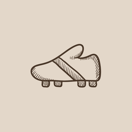 Football boot sketch icon for web, mobile and infographics. Hand drawn vector isolated icon. Stock Illustratie