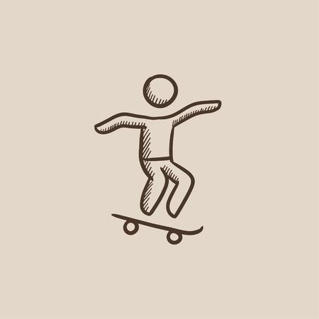 persona saltando: El hombre montado en un icono de boceto monopatín para web, móvil e infografía. aislado vector dibujado a mano icono.