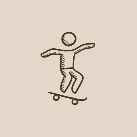 Man riding on a skateboard sketch icon for web, mobile and infographics. Hand drawn vector isolated icon.