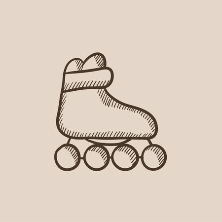 rollerskate: Roller skate sketch icon for web, mobile and infographics. Hand drawn vector isolated icon. Illustration