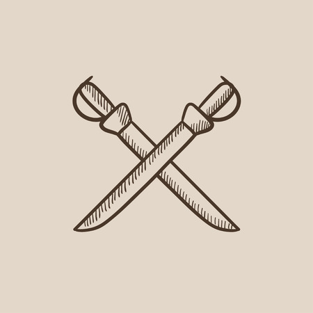 saber: Crossed saber sketch icon for web, mobile and infographics. Hand drawn vector isolated icon. Illustration