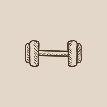 hand with dumbbell: Dumbbell sketch icon for web, mobile and infographics. Hand drawn vector isolated icon.